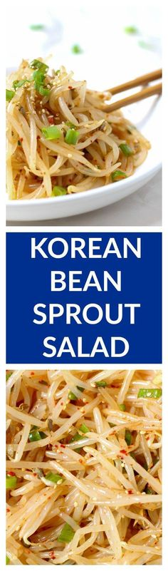 This simple 10 minute Korean bean sprout salad is fresh crunchy and addicting Toss them into a stir fry enjoy it as a side dish mix into a salad or eat it as is No matter. Bean Sprout Salad, Sprouts Salad, Stir Fry Bean Sprouts, Vegetarian Recipes, Cooking Recipes, Healthy Recipes, Vegetarian Korean Food, Korean Side Dishes, Simple Side Dishes