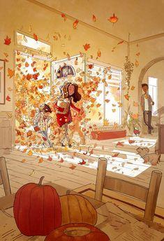 by Pascal Campion Pascal Campion, Autumn Illustration, Open Art, Autumn Art, Aesthetic Art, Cute Art, Character Art, Art Drawings, Anime Art