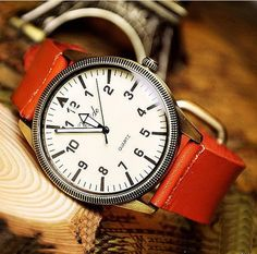 Handmade watch / vintage watch / wrist leather band watch / men retro watch / quartz watches (wat0109 - orange)