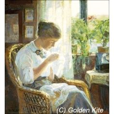Cross Stitch patterns and kits,  Young Woman Sewing - Solid colors, Knud Erik Larsen