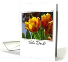 golden tulips German thank you card. Personalize any greeting card for no additional cost! Cards are shipped the Next Business Day. I Am Happy, Portuguese, Thank You Cards, Tulips, Birthday Cards, German, Greeting Cards, Plants, Universe