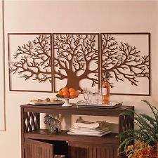 Large Tree Of Life Metal Wall Art Framed 3 Pc Set Picture Outdoor Indoor Decor