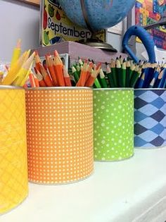 I like this! Covered cans for colored pencils