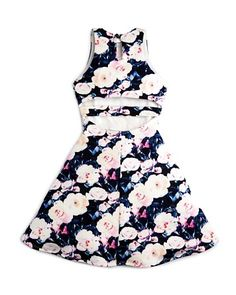 Miss Behave Girls' Floral Cutout-Back Dress - Sizes S-XL