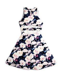Miss Behave Girls' Floral Cutout-Back Dress - Sizes S-XL