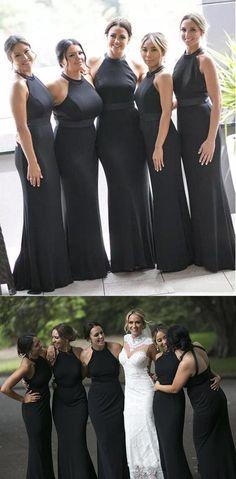 2e979612aa56 Black Sleeveless Halter Backless Mermaid Satin Long Bridesmaid Dresses # bridesmaiddress #bridesmaid #dress #. EVERISA