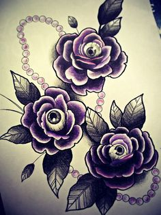 Rose & Eyes Tattoo Flash. Remove the eyes and the pearls and this is it