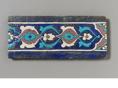 An Ottoman cuerda seca pottery Border Tile Probably Bursa, early Century Porcelain Ceramics, Ceramic Pottery, Arabesque Pattern, Border Tiles, Islamic Patterns, Turkish Tiles, Arabic Art, Islamic Art Calligraphy, 15th Century