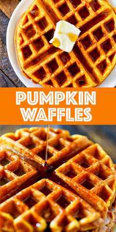 Loaded with pumpkin pie spice and drizzled with pure maple syrup. Loaded with pumpkin pie spice and drizzled with pure maple syrup. Pumpkin Waffles, Pumpkin Spice Cupcakes, Pumpkin Dessert, Pumpkin Pie Spice, Pumpkin Cakes, Pumpkin Carving, Waffle Recipes, Chef Recipes, Dessert Recipes