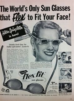Flex-Fit sunglasses advertisement, 1950s