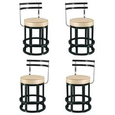 1stdibs | Four Art Deco Black Lacquered U0026 Chrome Bar Stools, Chair Height