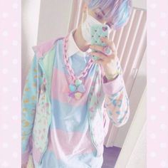 The Amazing - pastel goth boy Pastel Punk, Pastel Goth Fashion, Kawaii Fashion, Cute Fashion, Boy Fashion, Lolita Fashion, School Looks, Moda Pastel, Pastell Goth Outfits