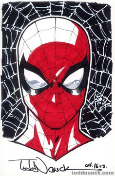 toddnauck: Spider-Man.3rd of 3 sketches to be raffled off at my Invincible Universe #1 signing at Phat Collectibles in Anaheim, CA this Sat., Apr. 27th, 4-6pm.Copic sketch markers and Pigma Micron markers. I actually won this!