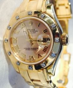 What a Beauty! Rolex Masterpiece Oyster Perpetual Ladies Datejust Pearlmaster Yellow Gold