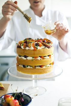 Griddled Fruits, Honey and Thyme Cake