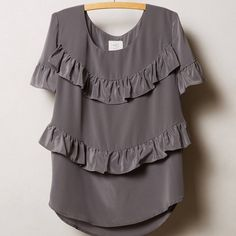 """[Anthro] Tiered Midi Top Swingy and chic, HD in Paris' silk midi top pairs perfectly with both sleek high-rise skinnies and flowy boho maxis. Gently used. 27"""" across bust, 22"""" long.   3241625 Anthropologie Tops Blouses"""