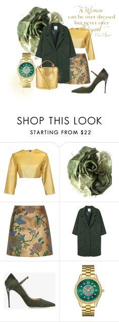 """Green doreé."" by nurinur ❤ liked on Polyvore featuring Chanel, Sydney-Davies, River Island, MANGO, Jennifer Chamandi, JBW and Mark Cross"