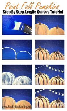 Easy canvas painting for beginners step by step. Learn how to do a pumpkin painting on canvas! Paint this and more fall canvas paintings! Canvas Painting Tutorials, Acrylic Painting Techniques, Diy Painting, Pumpkin Canvas Painting, Autumn Painting, Canvas Paintings, Fall Paintings, Indian Paintings, Halloween Canvas