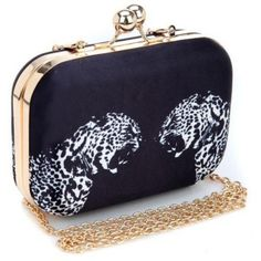 Leopard Pattern Polyester Women Clutches Evening Bags