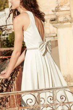 """""""Delancey"""" Open-Back, Pleated Dress with Bow 