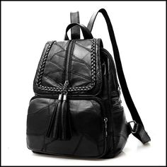 Leisure Women's Black Leather School Bag Large Weave Tassel Backpack #bag #Backpack #school #leisure Lace Backpack, Retro Backpack, Backpack For Teens, Laptop Backpack, Leather Backpack, Fashion Backpack, Travel Backpack, Leather Bags, Cute Backpacks