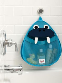 When families share bathrooms, soaps and toys for the little ones often end up scattered around. Using a slip-proof suction cup to adhere to any glass or tile wall, the stretchy, wide-mouthed Bath Storage from 3 Sprouts made from the same mildew-resistant material used for wet suits keeps toys and bath products dry and within easy reach.