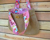 Upcycled Burlap Pleated Purse. Owls. Peace Signs. Bubble Gum Pink. Polka Dots. FREE Shipping.