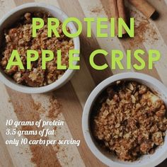 Enjoy a sweet, macro-friendly treat with this protein apple crisp! Only carb… Enjoy a sweet, macro-friendly treat with this protein apple crisp! Only carbs and of fat, with of protein per serving! Protein Snacks, High Protein Recipes, Low Carb Recipes, Healthy Recipes, Protein Desserts, Bariatric Recipes, Beef Recipes, Easy Recipes, Recipies