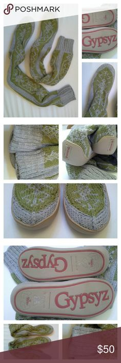 "GYPSYZ by Gypsy 05 Knee High Knit Booties (sz 7) Grey and lime knit with snowflake pattern. I am the original owner, and I have worn these only once, indoors. They've had quite the cushy life resting comfortably in my closet. 100% biodegradable rubber soles, so you can wear them outside. Soft, thick and cushy 100% organic cotton. These come up over my knees, and measure 26"" tall. No pulls or holes, like new condition. Price firm unless bundled. Time for a new home! Gypsy 05 Shoes Slippers"
