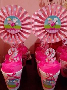Centros de mesa Peppa Pig Put your house party that may be uncomplicated, trendy, plus Fiestas Peppa Pig, Cumple Peppa Pig, Pig Birthday, 3rd Birthday Parties, George Pig, Pig Party, Birthday Party Decorations, Party Themes, Bash