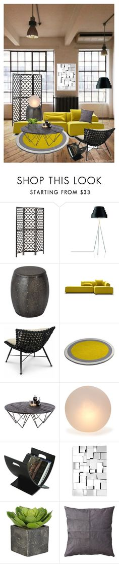 """Contemporary loft"" by tracy-gowen ❤ liked on Polyvore featuring interior, interiors, interior design, home, home decor, interior decorating, Monarch, Palecek, Sunpan and Mitchell Gold + Bob Williams"
