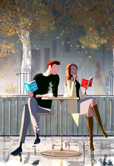 Taking Queues by Pascal Campion. By Pascal Campion Couple Illustration, Illustration Art, Drawing Sketches, Art Drawings, Pascal Campion, Cabin In The Woods, Couple Art, Love Art, Book Lovers