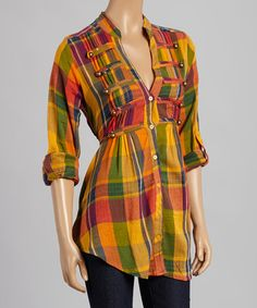 This Yellow & Green Plaid Button-Up is perfect! #zulilyfinds