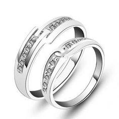 Name Engravable 925 Sterling Silver Couple Finger Rings