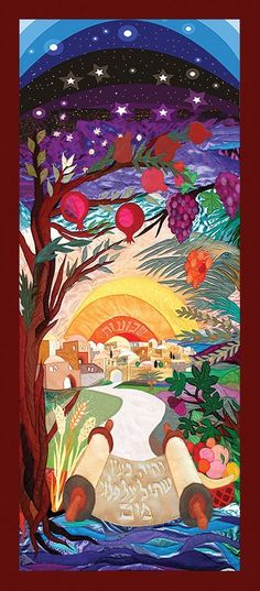Shavuot, or Pentecost (meaning takes place 50 days after Passover, and remembers the giving of the Law on Mt Sinai. Shavuot is one of the 3 Jewish High Holidays. Jewish Crafts, Jewish Art, Feasts Of The Lord, Simchat Torah, Arte Judaica, Prophetic Art, Jewish History, Bible Art, Ancient Art