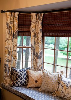 Close up of the window bench pillows and floral curtains. Floral Curtains, Valance Curtains, Window Benches, Window Seats, Bay Window Decor, Atlanta, Shops, Living Room Windows, Window Styles