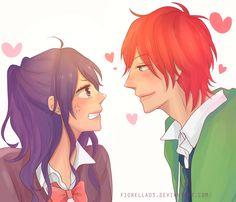 Nijiiro days - Mari x Matsun by on DeviantArt Anime Love Couple, Cute Anime Couples, Couple Pics, Manga Characters, Anime Films, Manga Anime, Anime Art, Nijiiro Days, Kaito Shion