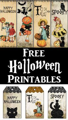 Grab these 3 cute free Vintage Halloween Printables! Included are Tags, Bookmarks and Treat Bag Toppers. The Bookmarks are great to use as a Candy Alternative for the Teal Pumpkin Project. By the French Heart for The Graphics Fairy