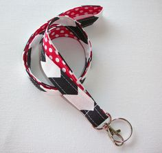 Lanyard  ID Badge Holder  Lobster clasp and key ring  by Laa766  preppy / fabric / cute / patterns / key chain / office, nurse, student id, badge / key leash / gifts / key ring