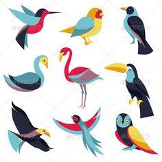 Vector Set of Logo Design Elements - Birds Signs  #GraphicRiver
