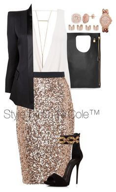 A fashion look from December 2015 featuring Balmain blazers, French Connection skirts and Giuseppe Zanotti sandals. Browse and shop related looks. Night Outfits, Mode Outfits, Classy Outfits, Stylish Outfits, Fashion Outfits, Womens Fashion, Fashion Trends, Fashion 2020, Fashion Clothes