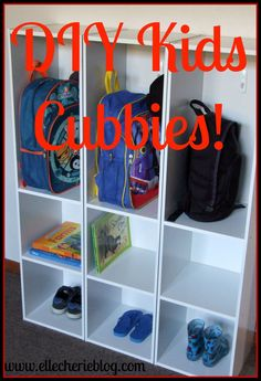 DIY Kids Cubbies! Click to find out how to make these simple cubbies for the kids. Visit www.ellecherieblog.com