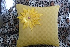 Pillow Sunshine with flower in Kanzashi style size 13in. by Emurs