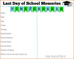 Use this free printable Last Day of School Memories page to capture your child's likes and hand writing at the end of the year.  This is perfect for a time capsule!
