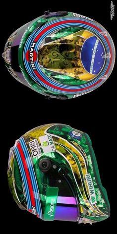 """2017/6/6:Twitter:@PFF1:Felipe Massa's Brazil 2016 """"retirement"""" mini helmet available soon."""