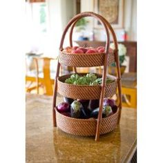 Large Three Tiered Rattan Basket With Enough Depth And Weight To Hold Heavy Fruits Vegetables In Bulk Works On The Counter Or Pantry Cold
