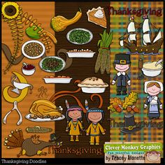 Thanksgiving Doodles by Clever Monkey Graphics - Digital scrapbooking kits available through Oscraps, GingerScraps, or MyMemories