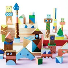 I think plain old wooden blocks are lovely, but this is pretty cool. (DIY painted wooden blocks.)