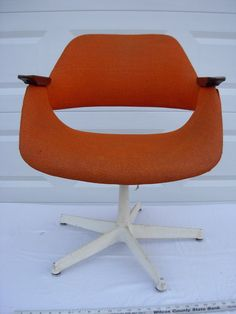 Bright Orange Swivel Desk Chair Space Age by LonestarVintageFinds, $160.00