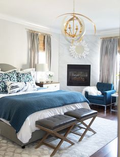 Blue, gray, and gold Master Bedroom Makeover Master Bedroom Makeover, Master Bedroom Design, Bedroom Designs, Bedroom Themes, Bedroom Decor, Bedroom Ideas, Bedroom Inspiration, Bedroom Inspo, Gold Bedroom